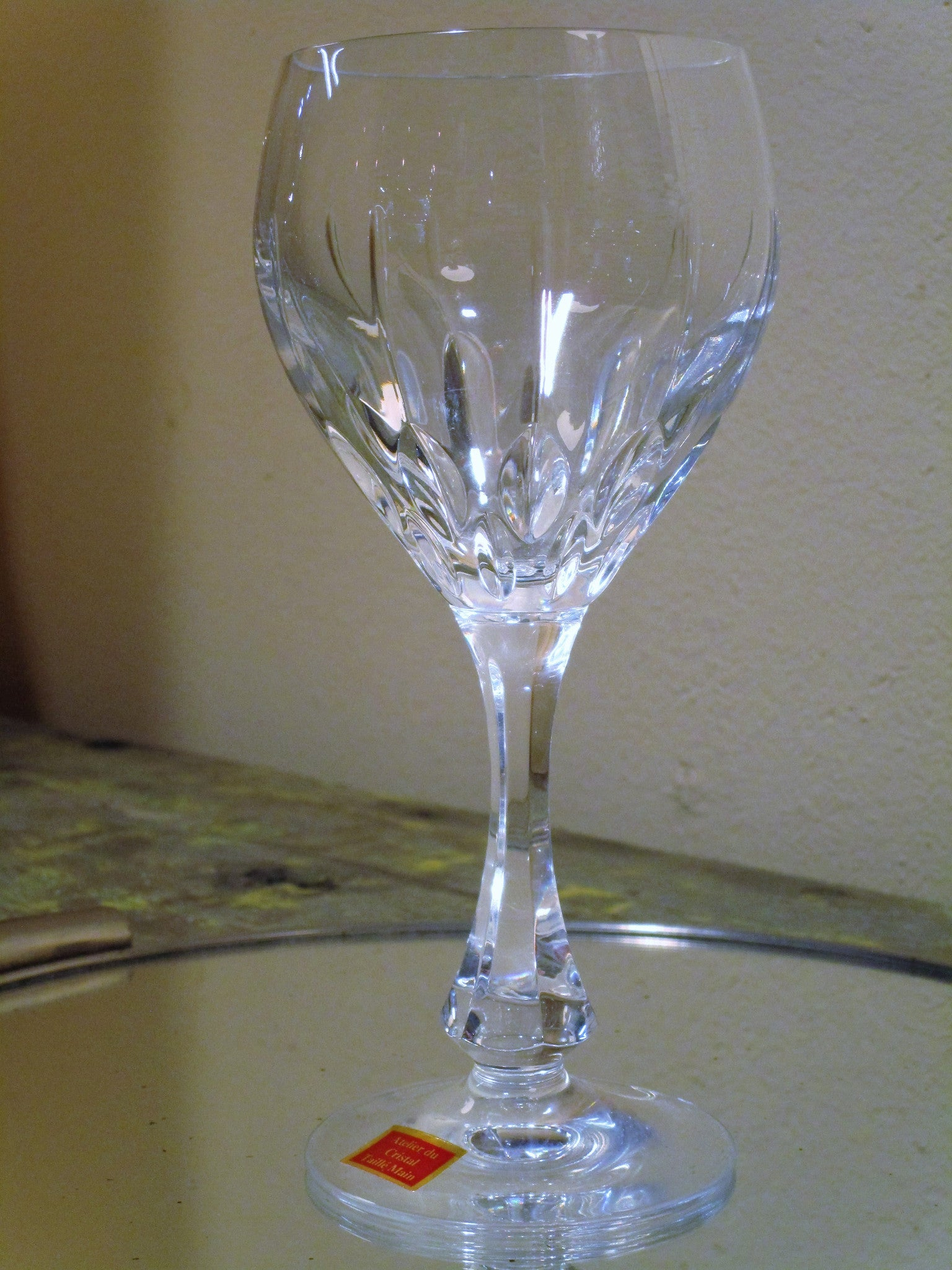 Set of six red wine French crystal glasses