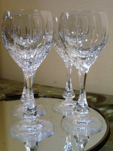 Set of six white wine French crystal glasses