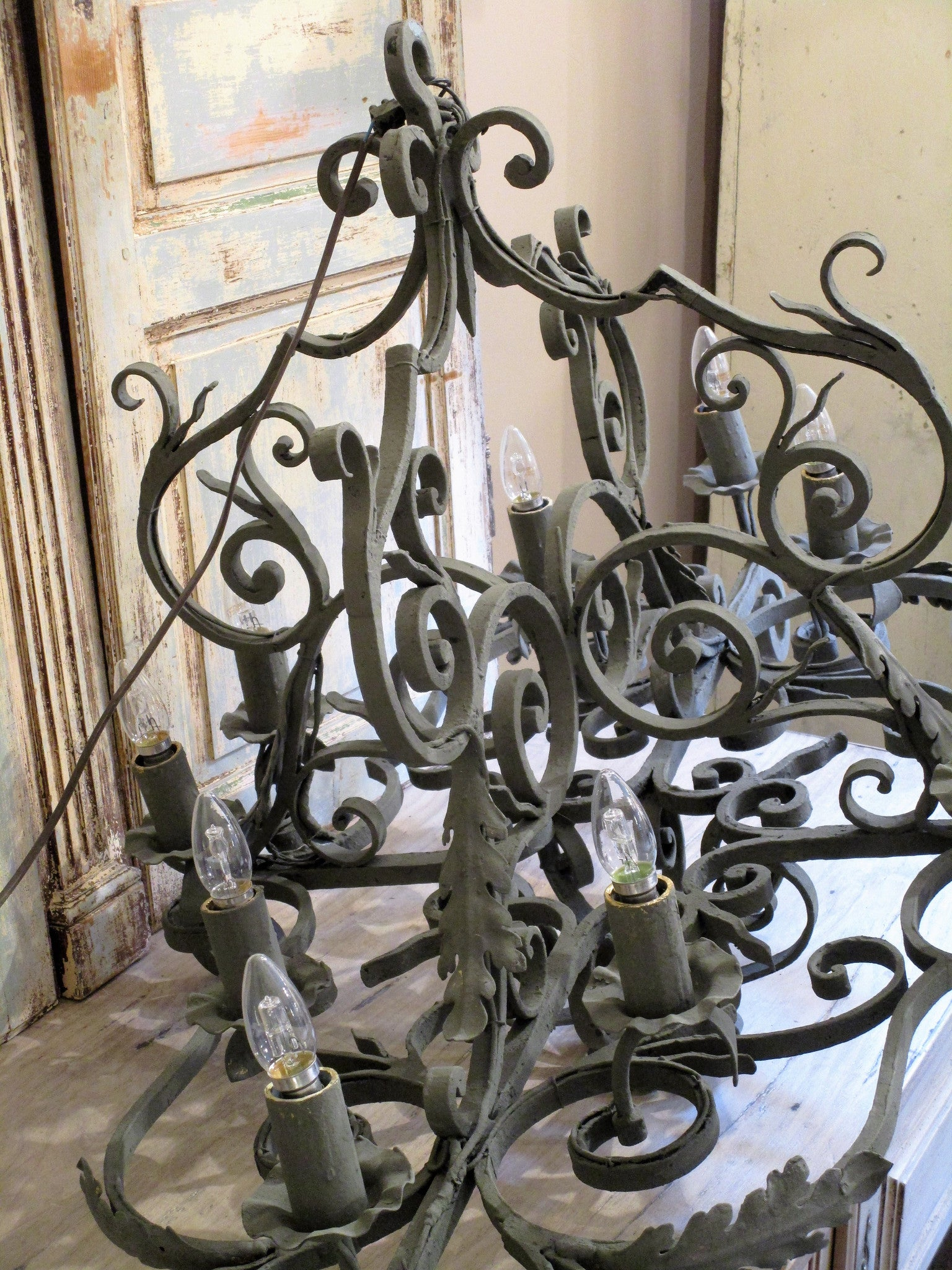 Extra large wrought iron French lustre