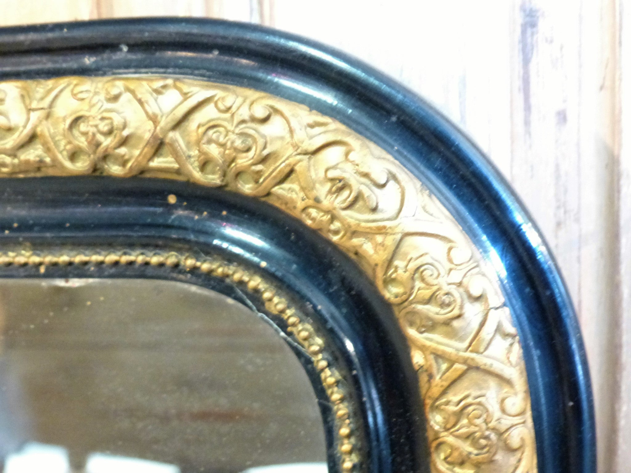19th century gold and black Napoleon III mirror