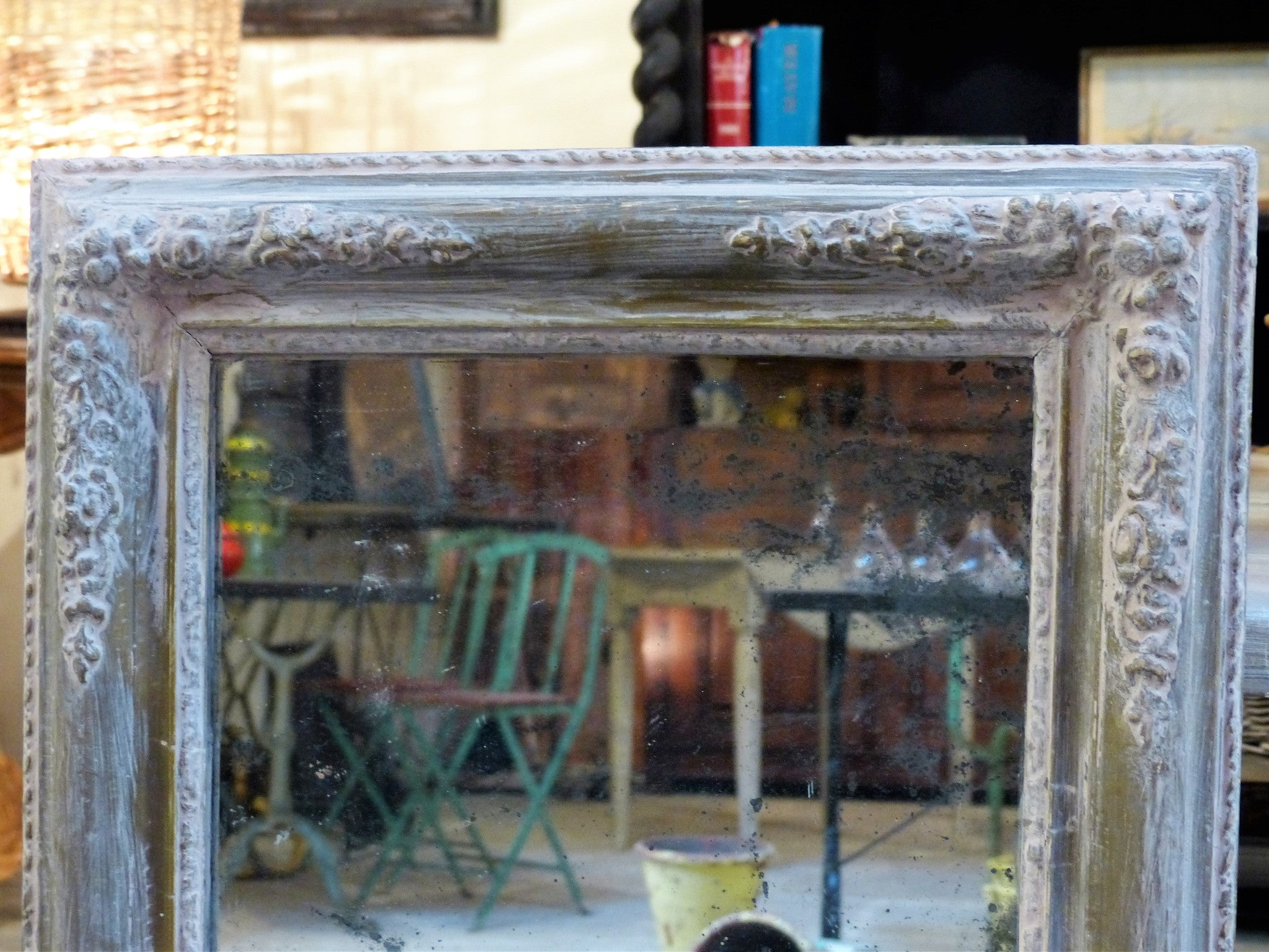 19th century rectangular mirror with original glass and pink patina