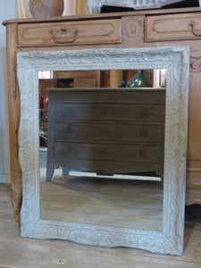 20th century French mirror with carved timber frame