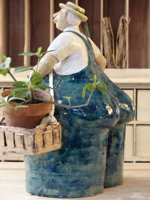 """Monsieur agriculteur"" sculpture with two baskets and blue overalls - by order"