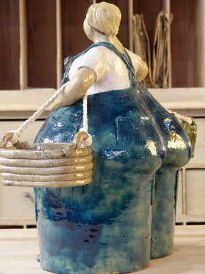 """Madame agriculteur"" sculpture with two baskets and blue overalls - by order"