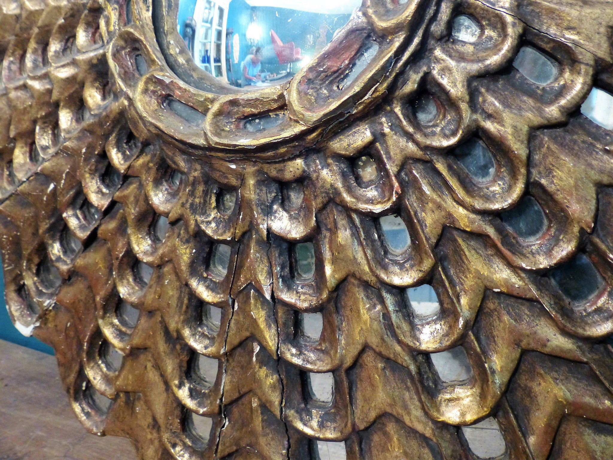Large carved gilt wood sunburst mirror