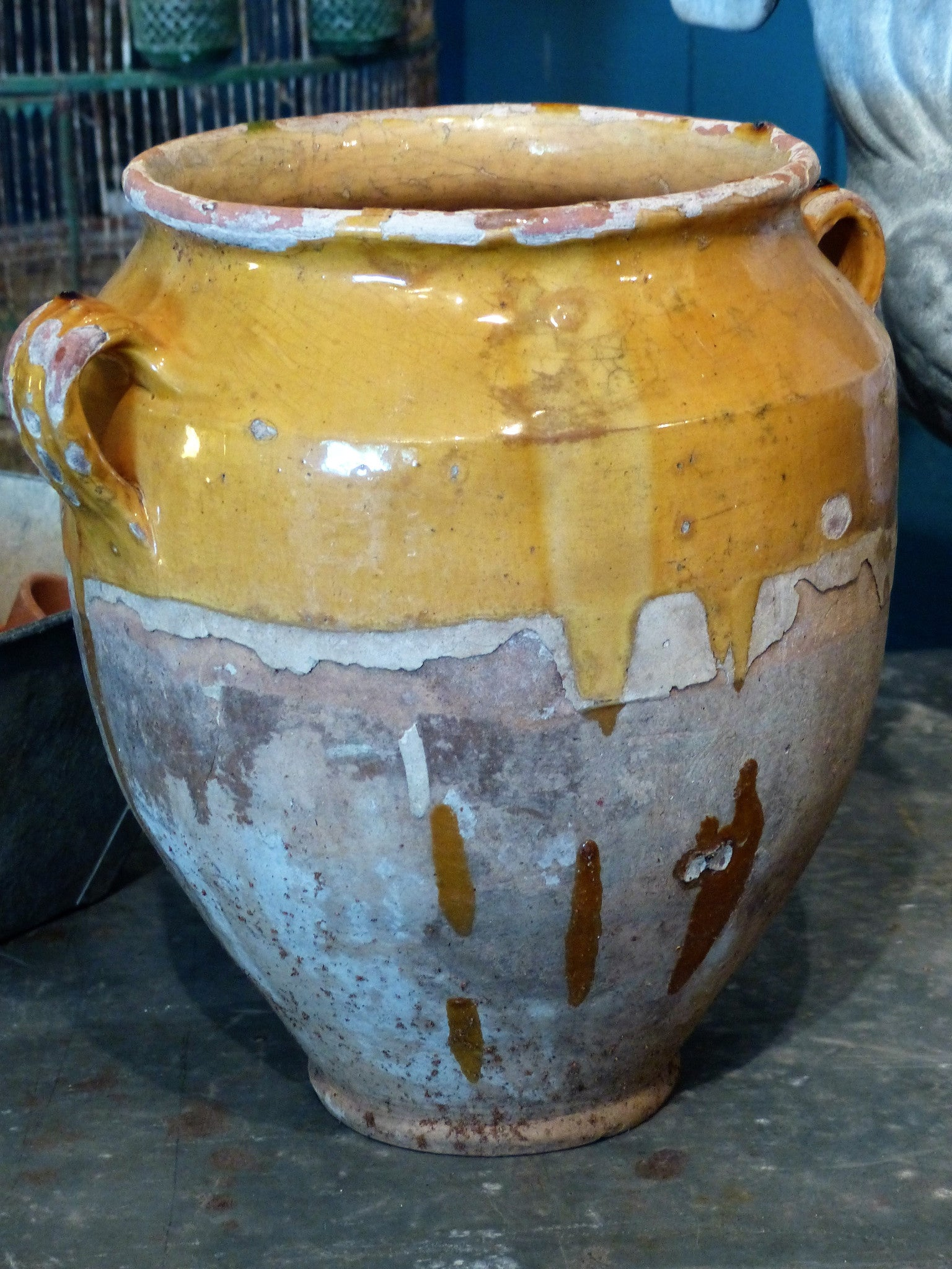 Large French ceramic confit pot – orange glaze