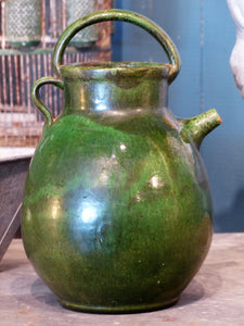 "Late 19th century green glazed ""œcruche d'eau""? from Marseille"