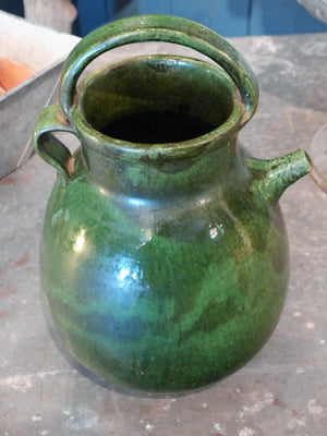 "Late 19th century green glazed ""cruche d'eau"" from Marseille"