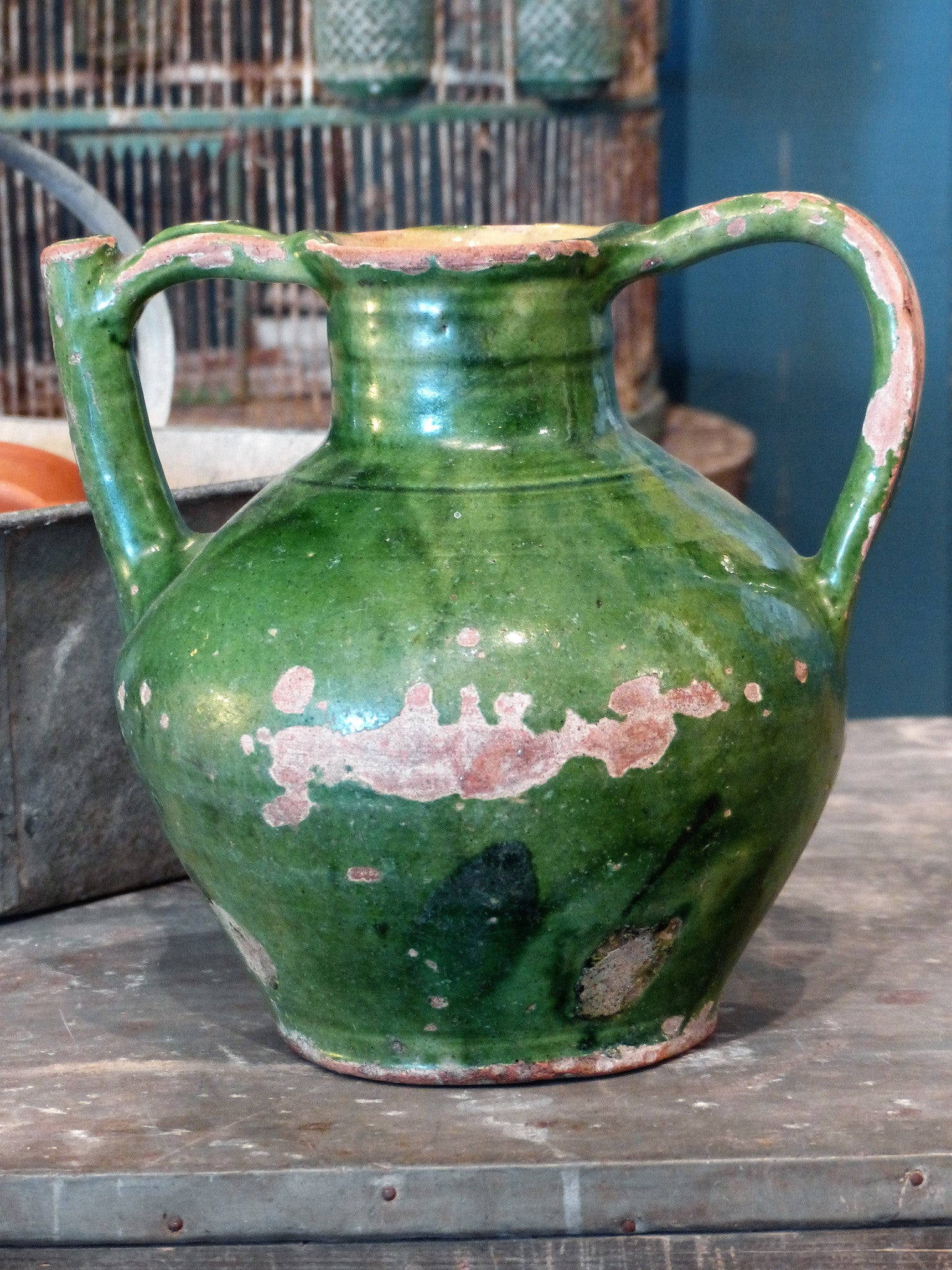 "Late 19th century green glazed ""œorjol""? from Languedoc-Roussillon"