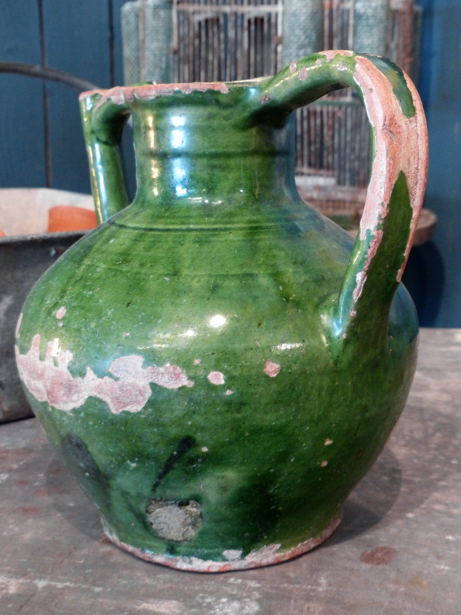 "Late 19th century green glazed ""orjol"" from Languedoc-Roussillon"