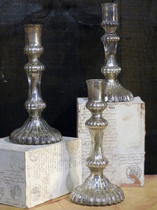 "Three 19th century French candlesticks from a church in ""œl'argent de pauvre""?"