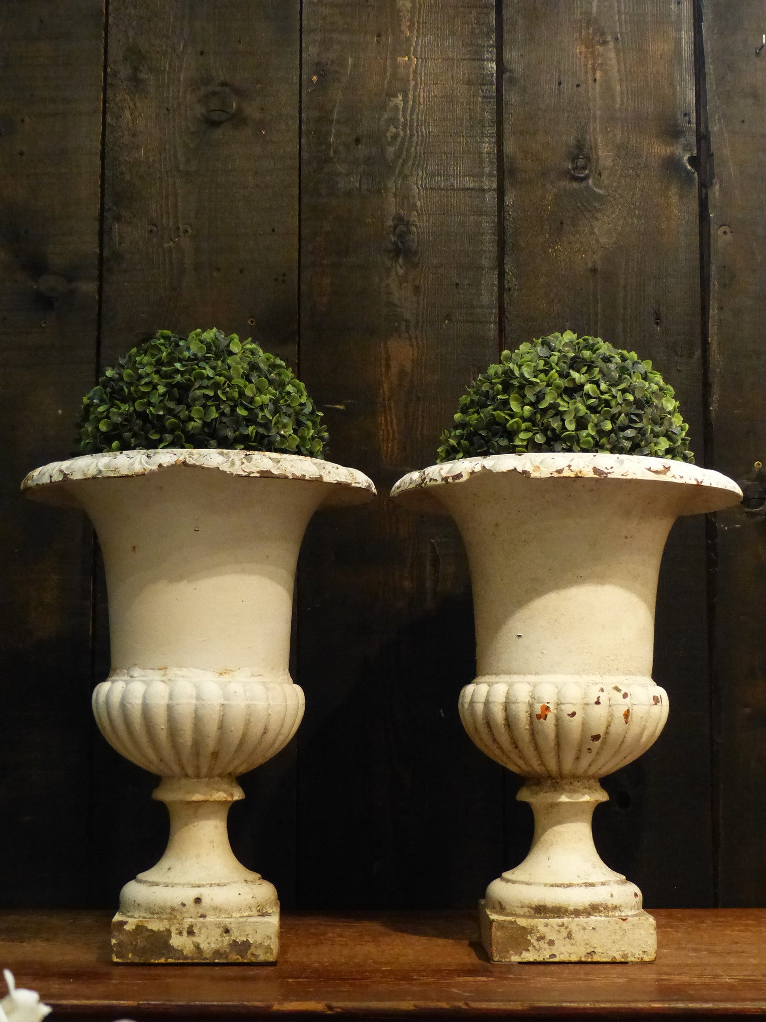 Pair of 19th century white Medici urns