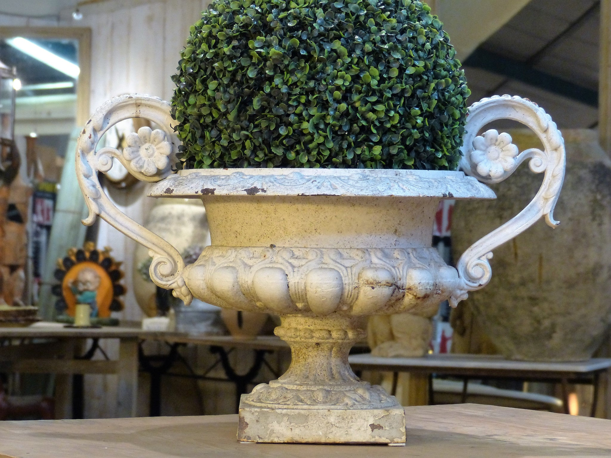 Large 19th century white Medici urn with sculptural handles