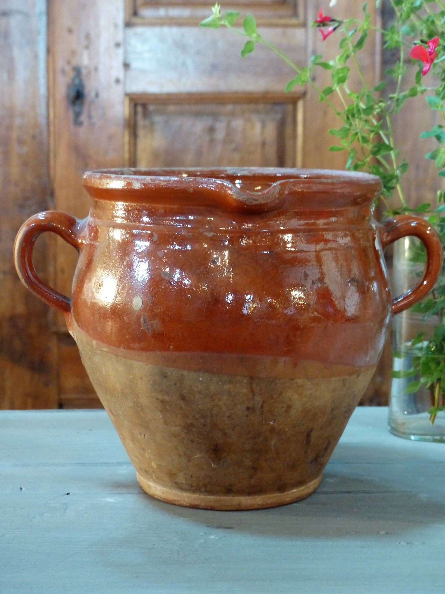 French provincial vintage pottery olive jar