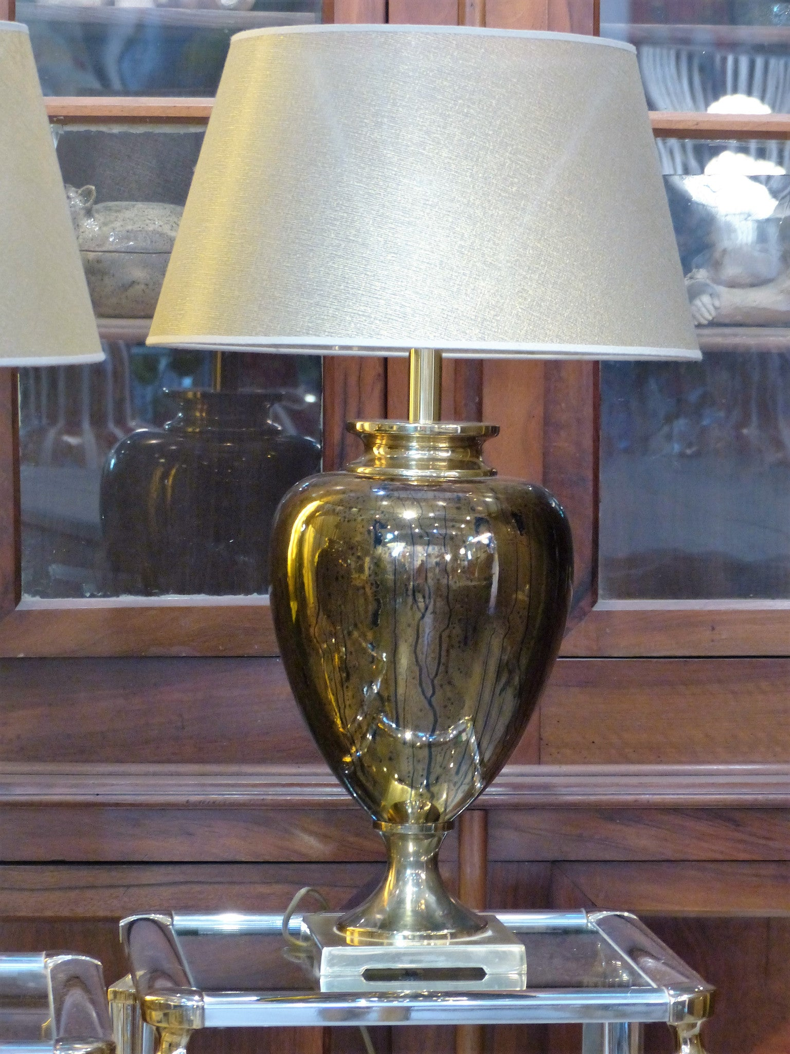Pair of mid century French lamps gold