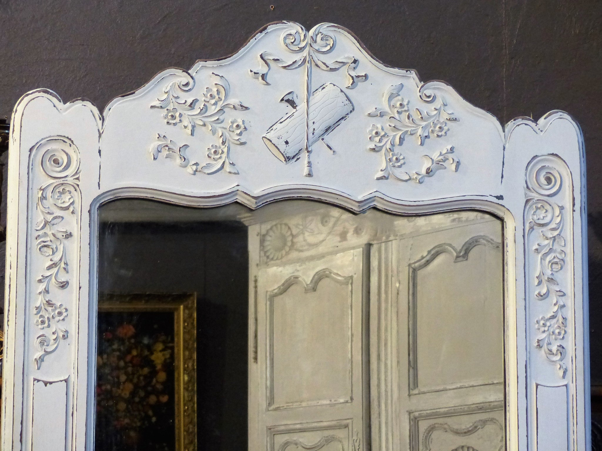 Louis XV mirror with white patina