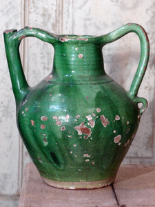 French antique pottery late 19th century glazed green water pitcher orjol