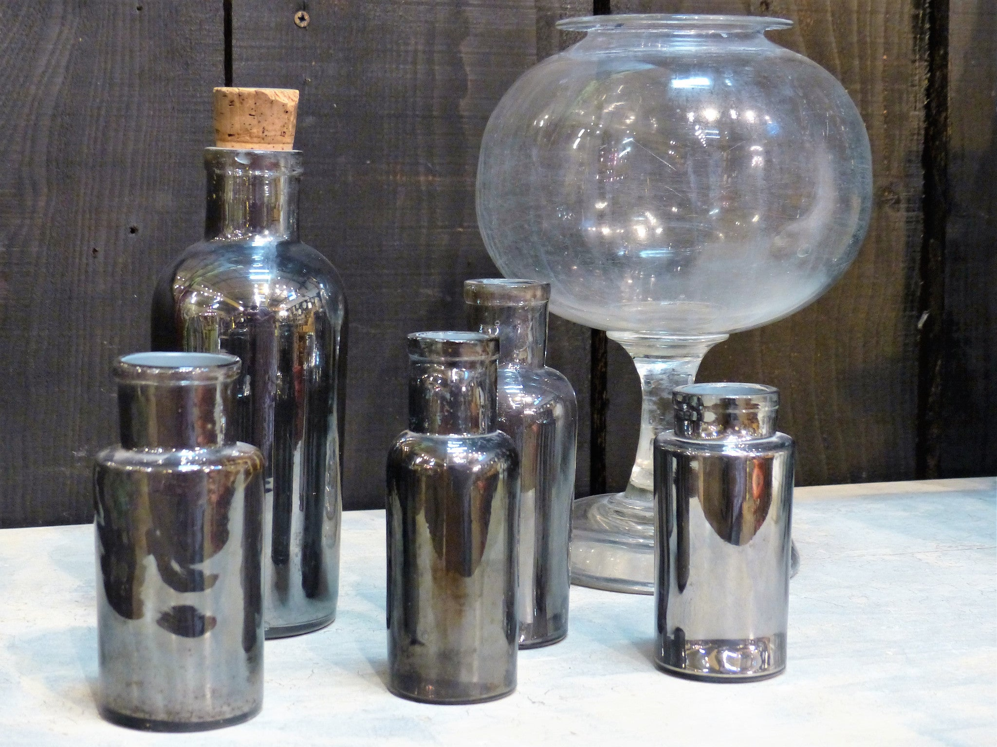 French apothecary jars vintage glassware
