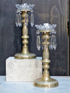Pair of French candlesticks gilded bronze last minute gift idea fast delivery