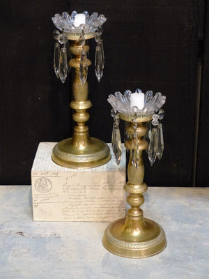 Pair of French candlesticks gilded bronze luxury wedding gift from France
