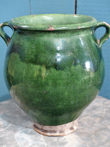 Large 19th century green glazed confit pot vintage pottery from France