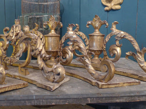 Pair of 18th century candle holders Italian gold gilded