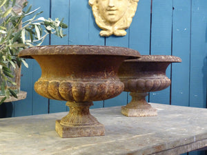 Pair of 19th century French Medici urns garden planters
