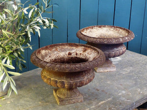 Pair of 19th century French Medici urns garden planters cast iron