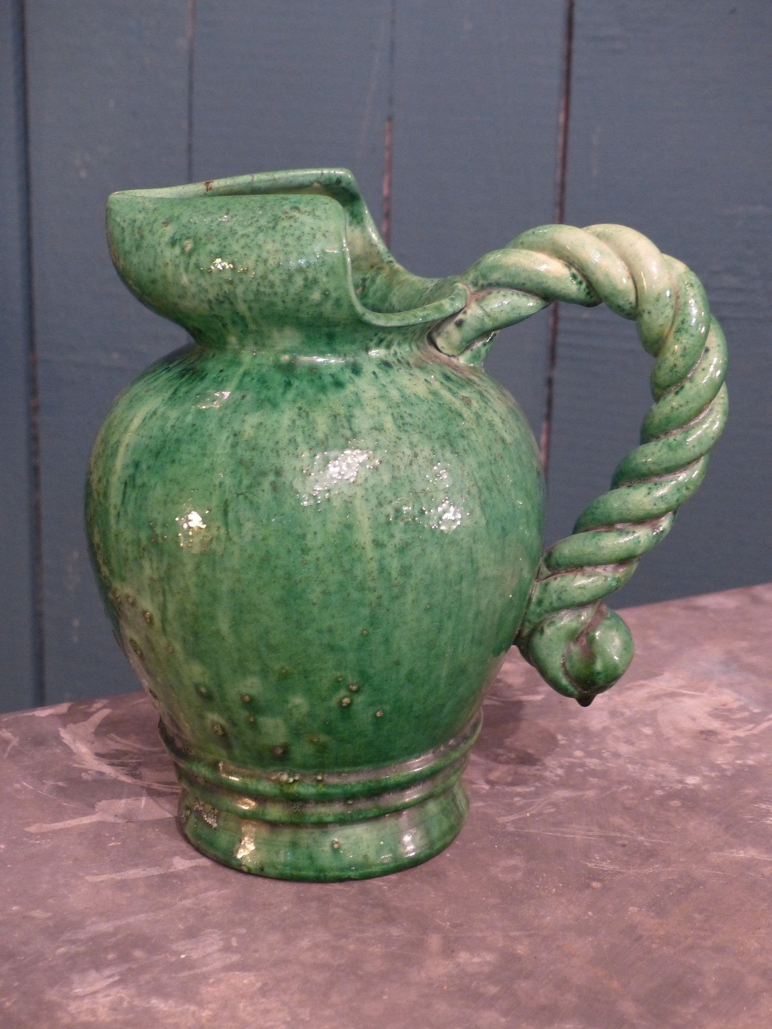 Green vintage pitcher water jug French mid century pottery
