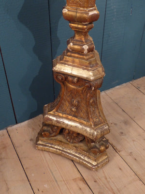 Large French candlestick from church giltwood lamp stand