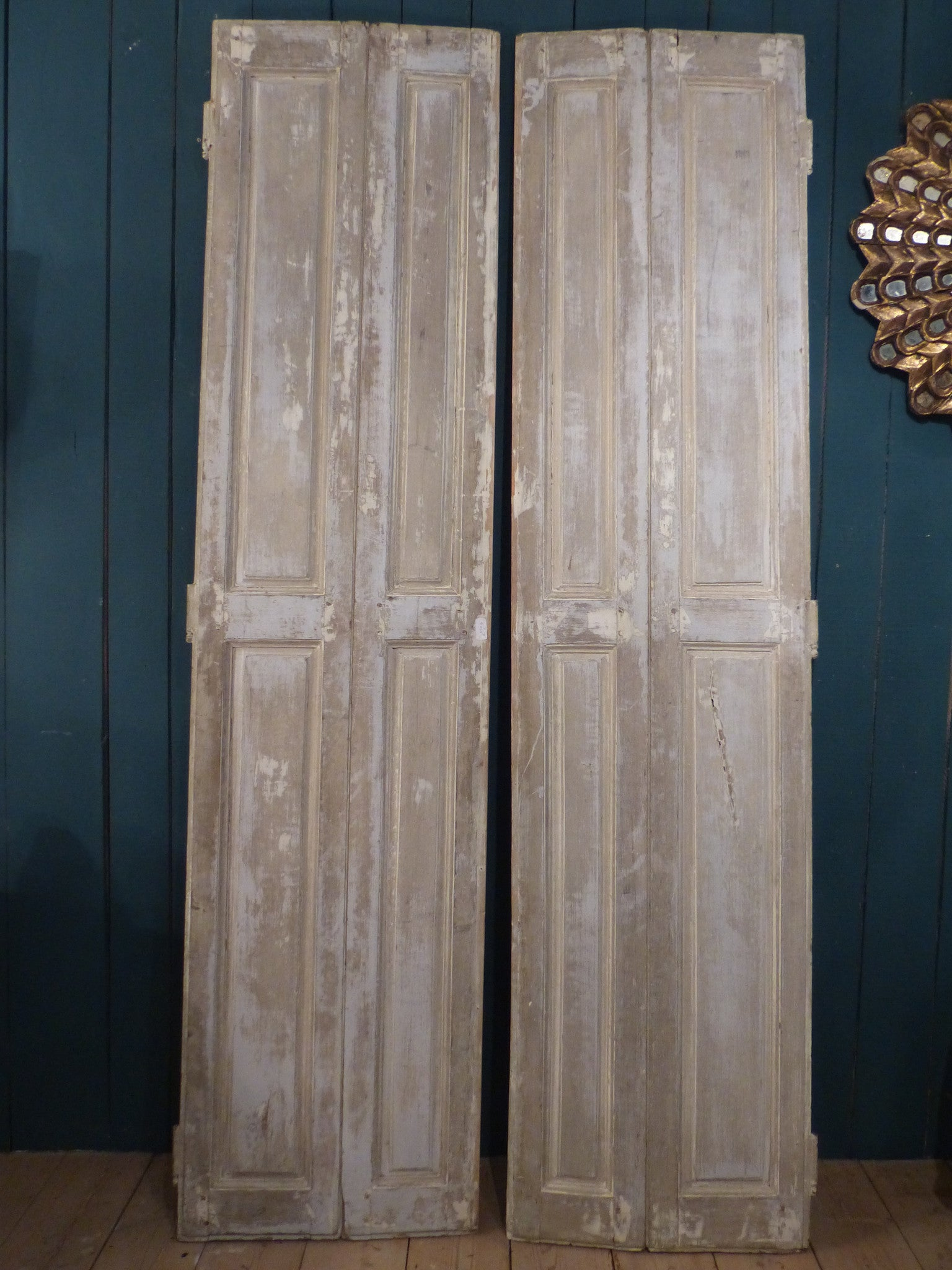 Pair of 19th century shutters with white patina modern farmhouse décor
