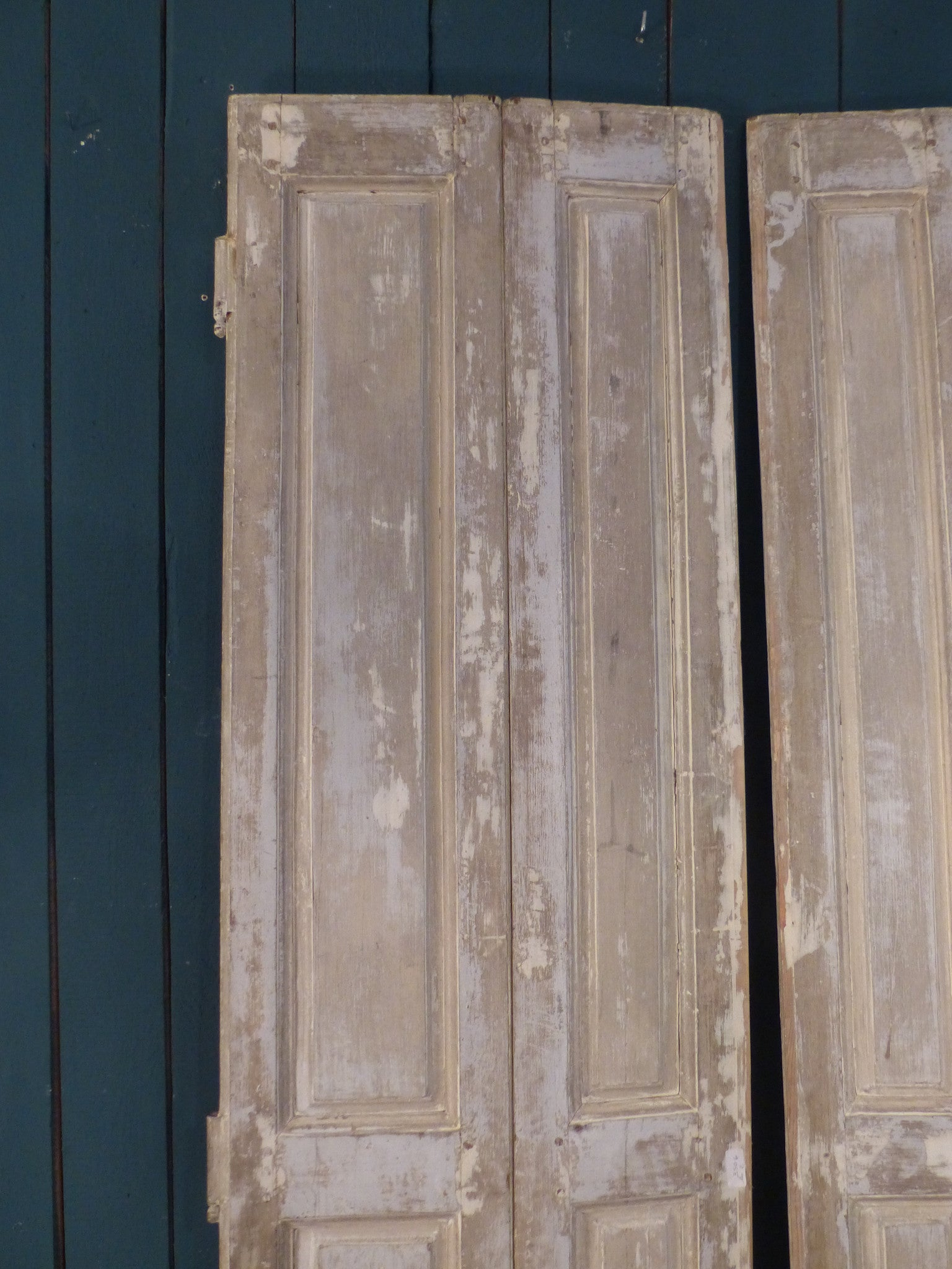 Pair of 19th century shutters with white patina French interiors