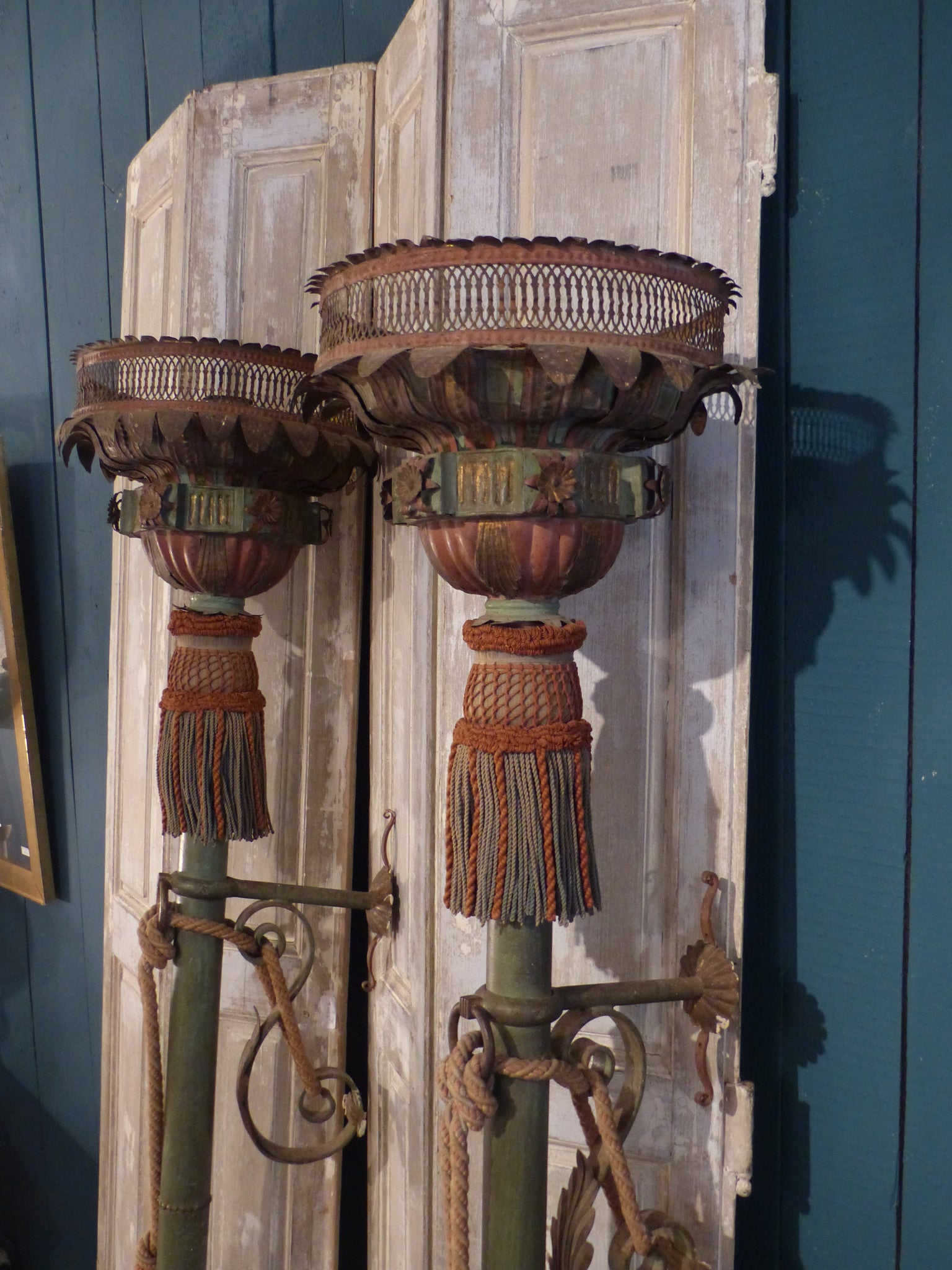 Pair of Italian Processional lanterns with original passementerie