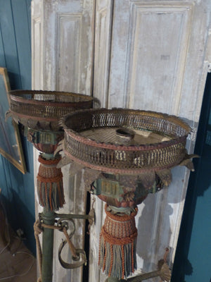 Pair of Italian Processional lanterns with original passementerie last minute gift ideas