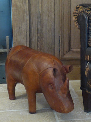 Mid century modern leather foot rest rhino spanish 1950's collectible