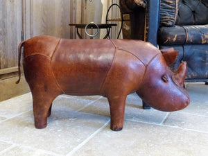Mid century modern leather foot rest rhino last minute christmas idea