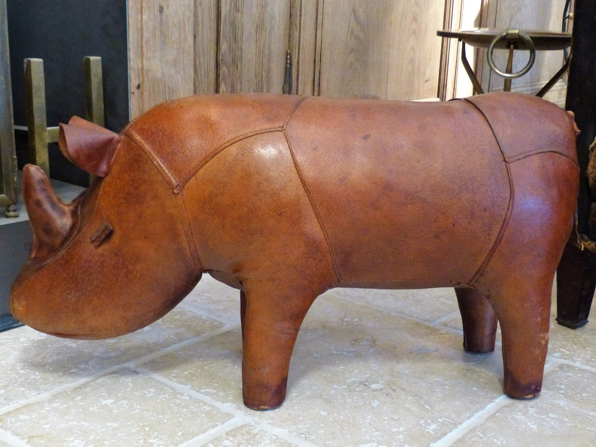 Mid century modern leather foot rest rhino wedding present from France