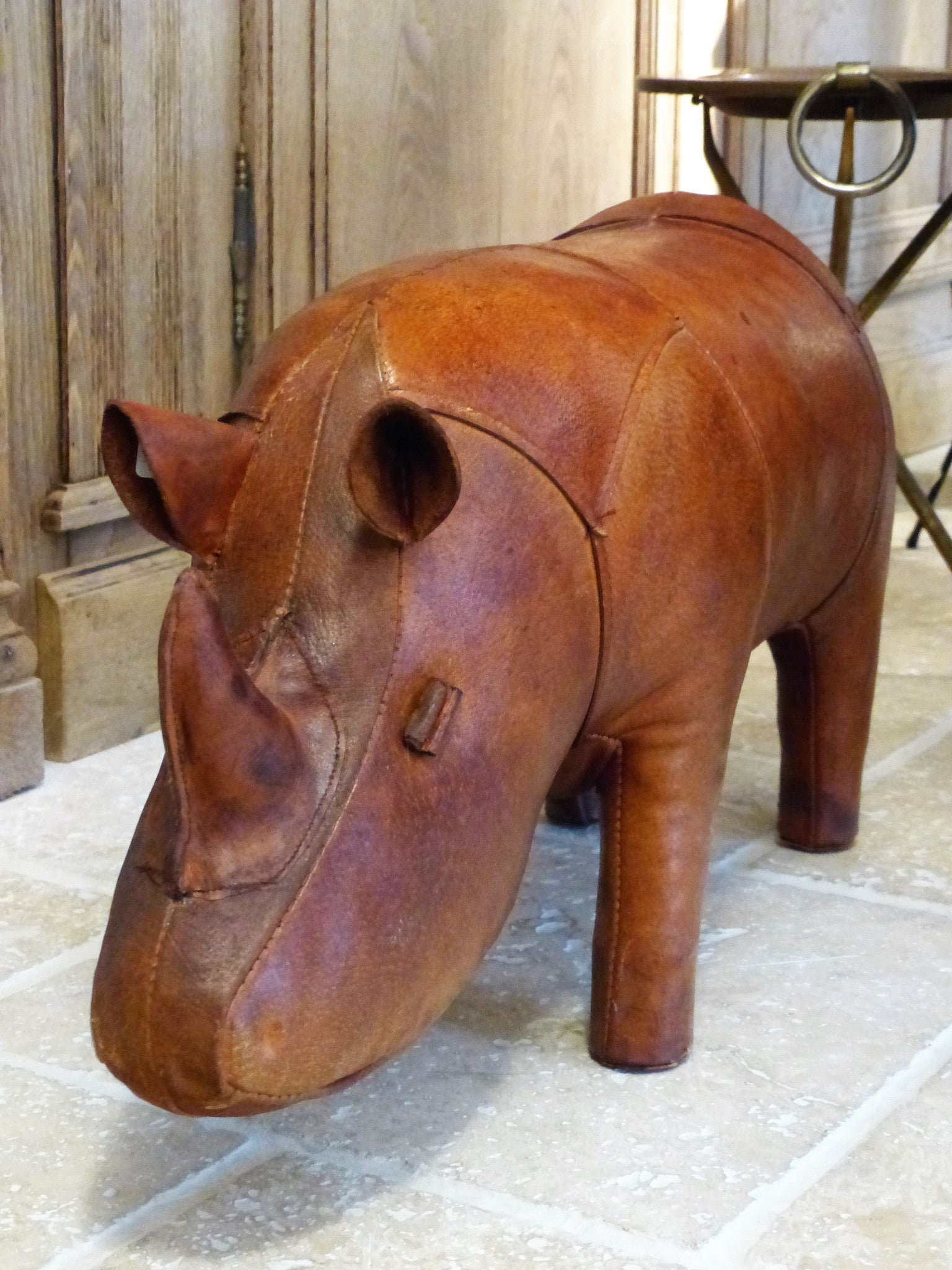 Mid century modern leather foot rest rhino