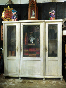French bookcase with original grillwork doors