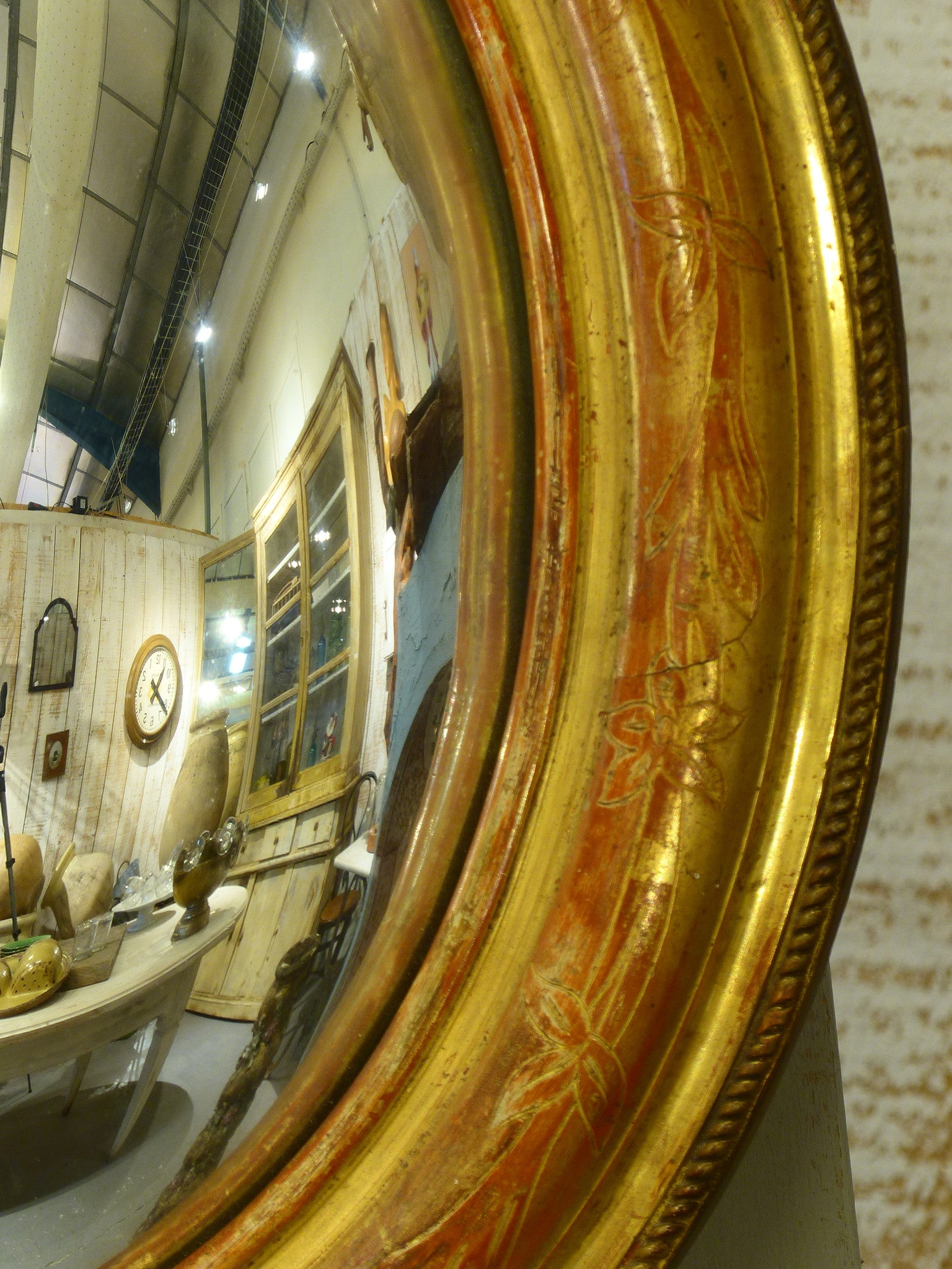 Louis Philippe convex butlers mirror with original patina