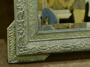 Large Napoleon III mirror with white patina