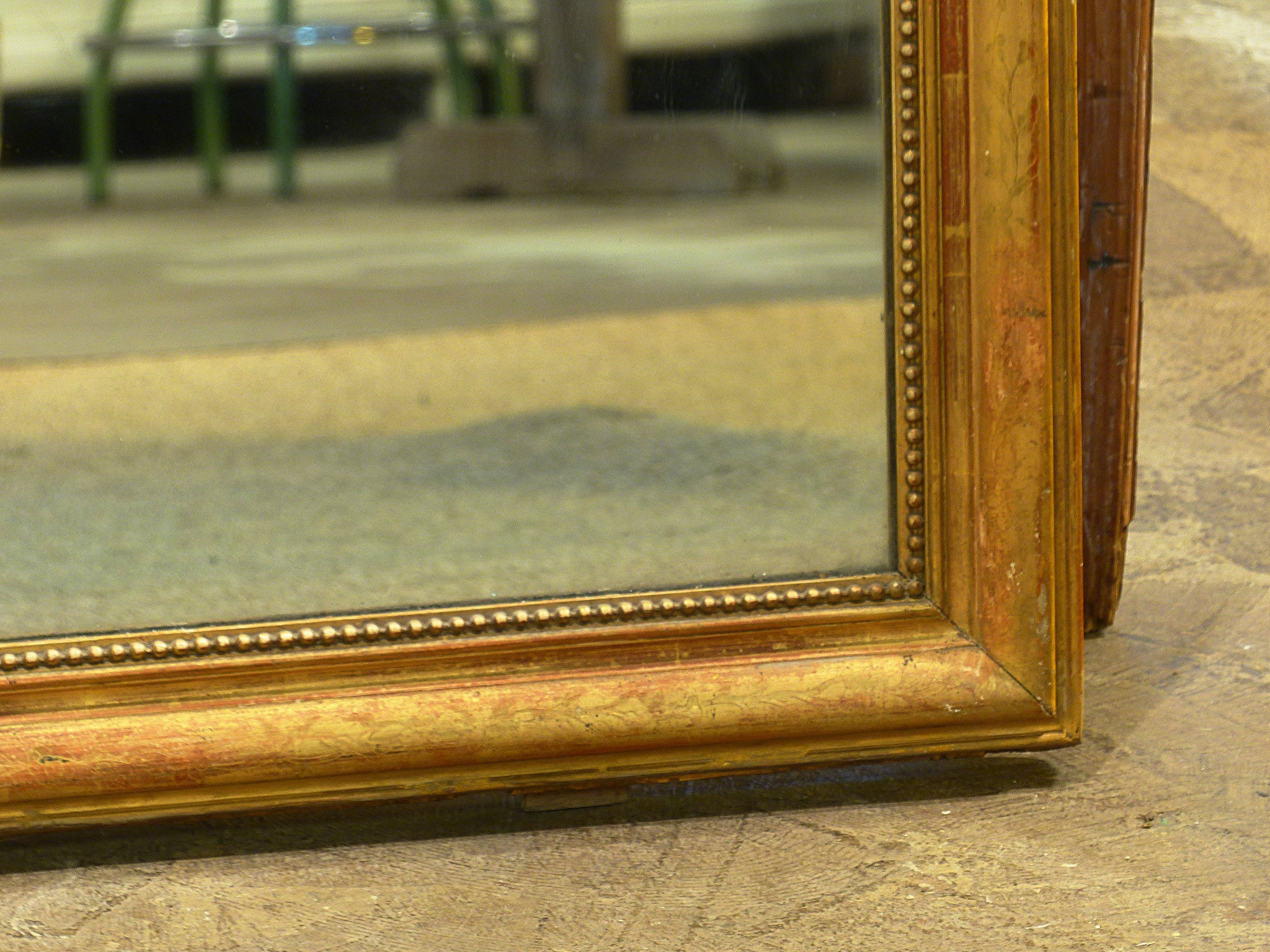 Large Louis Philippe mirror with original gilded frame