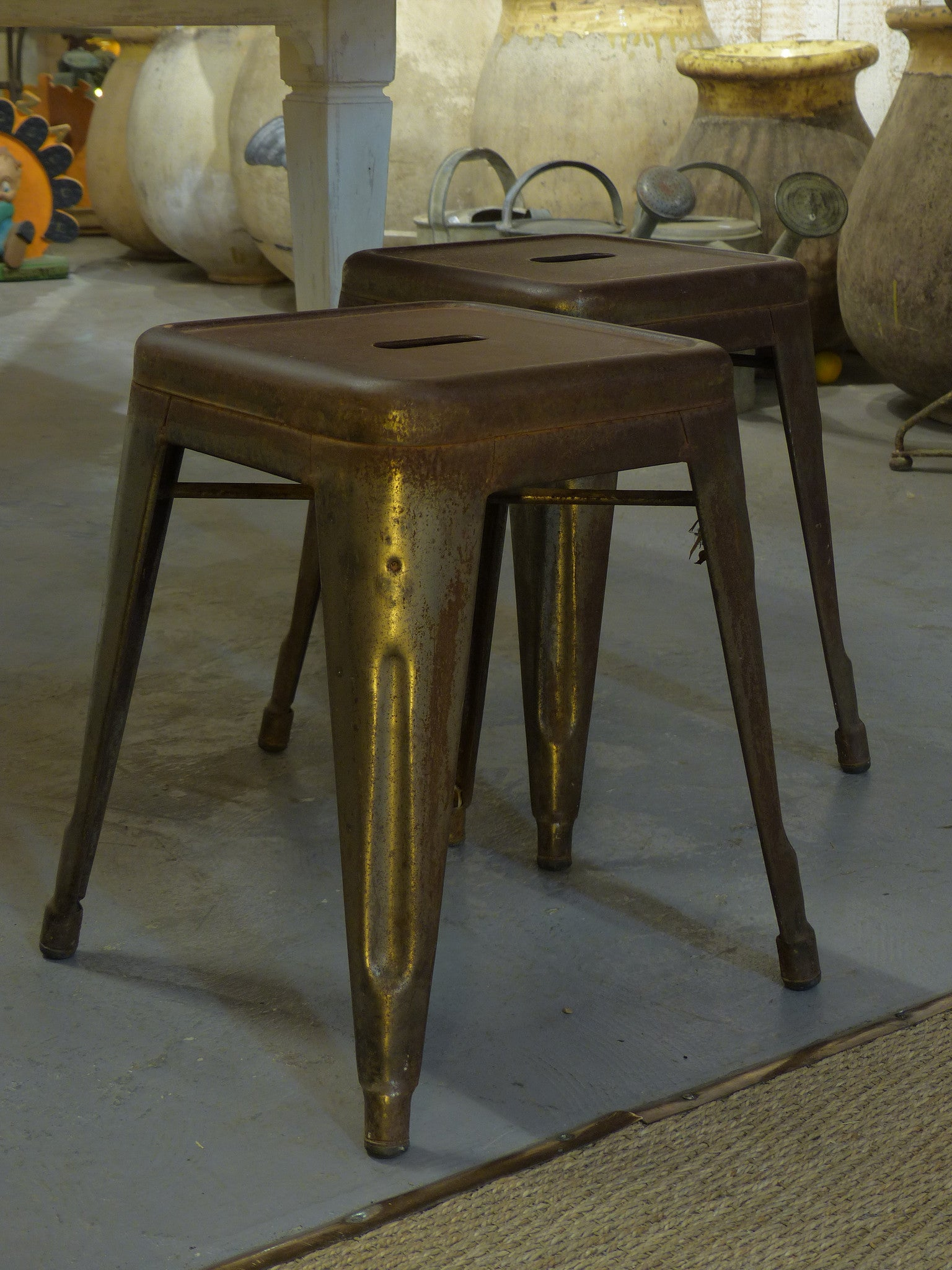 Pair of original French Tolix stools - 1930's
