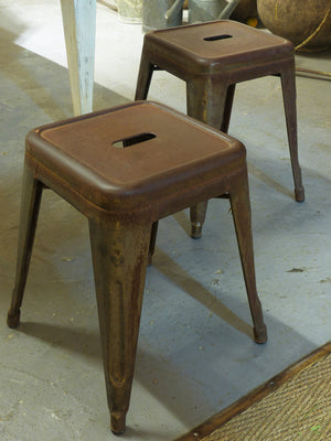 Pair of original French Tolix stools – 1930's