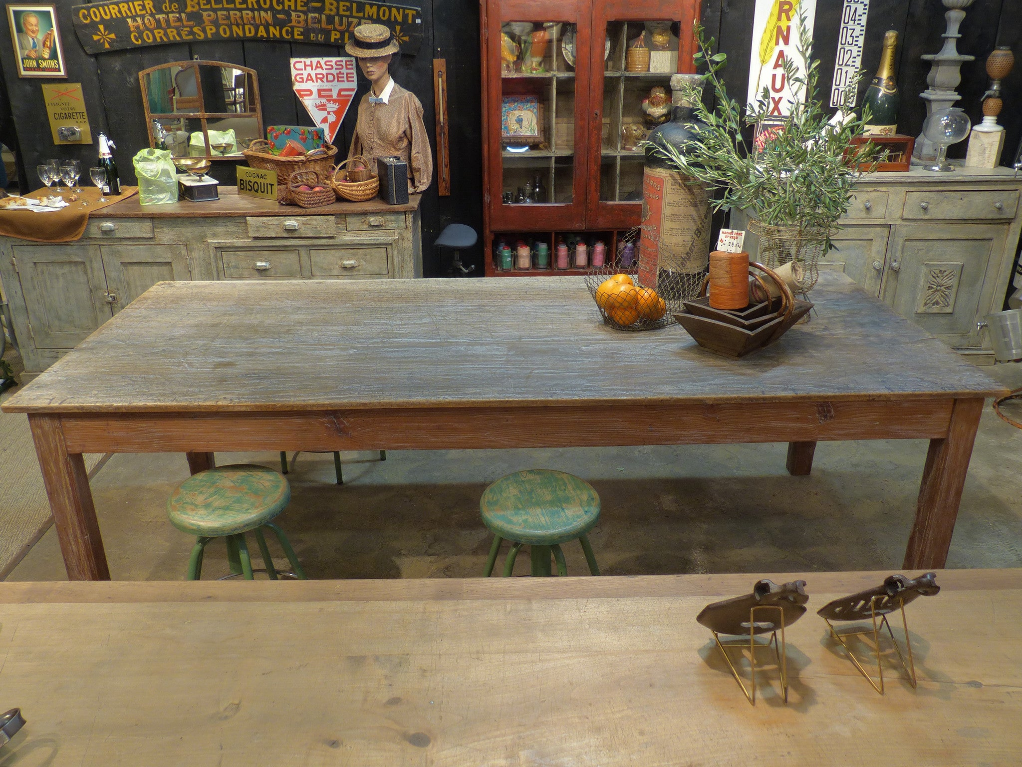 Large 19th century rectangular rustic work table with original patina