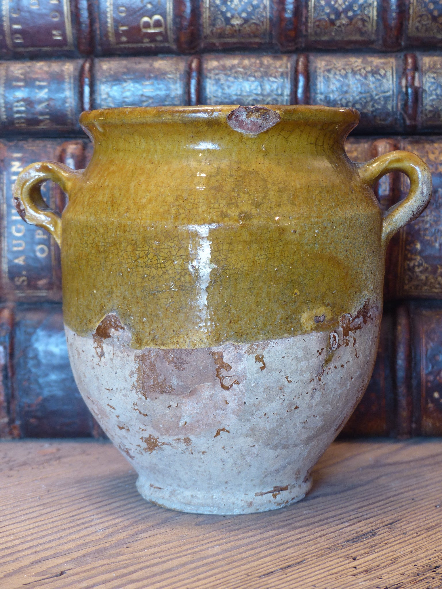 Half glazed antique French confit pot