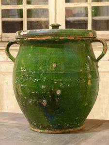Large green French pot with lid - 19th century