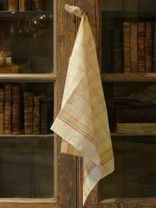 Pair of fine linen tea towels with red yellow green check - 1940's
