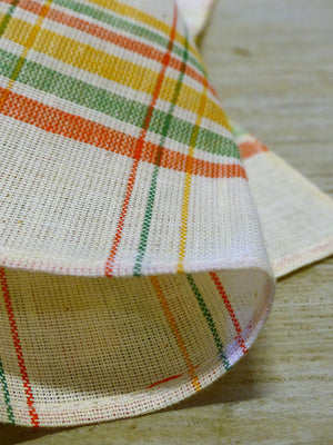 Pair of fine linen tea towels with red yellow green check – 1940's