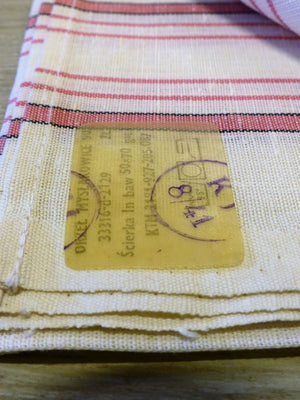 Fine linen tea towel with pink stripe – 1940's